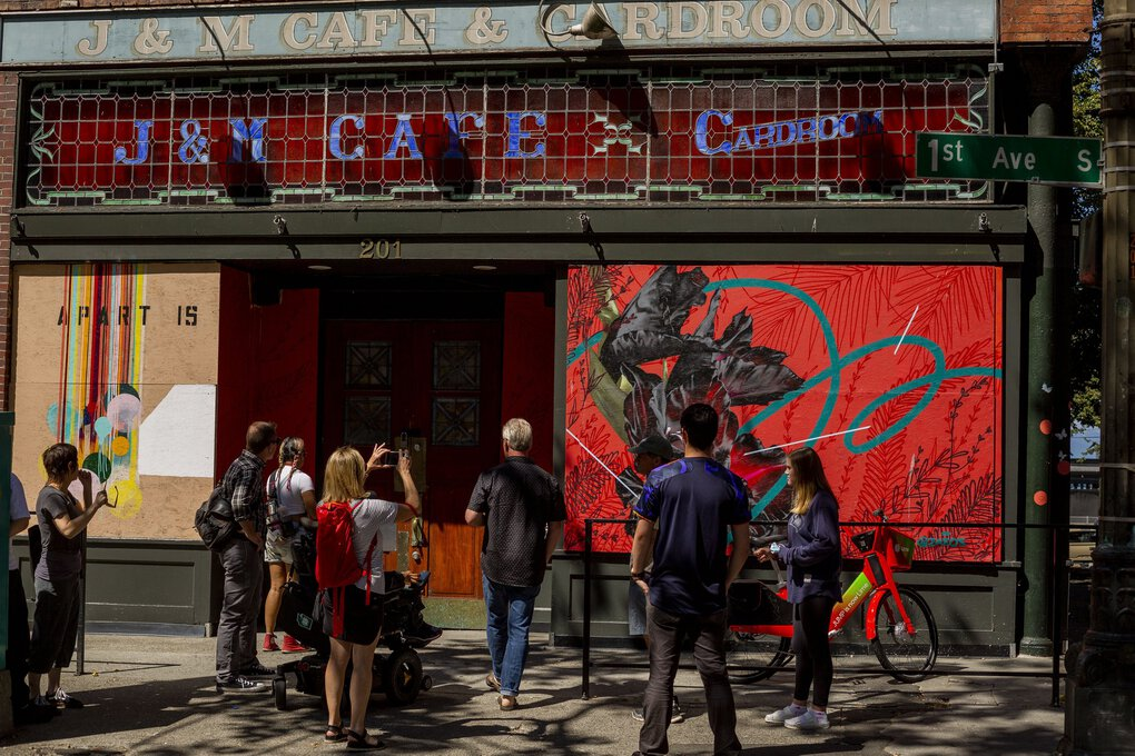 A new graffiti tour that launched on July 18 in Seattle looks at graffiti/street art/urban art in the Central District and Chinatown International District. (Sylvia Jarrus / The Seattle Times)