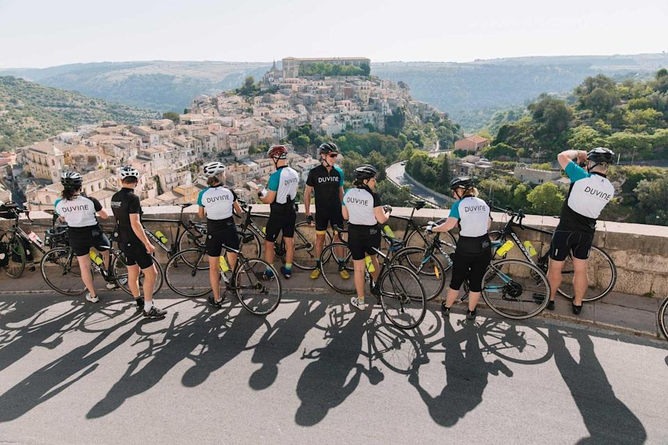 Cyclists in Sicily with DuVine, voted one of the world's best Tour Operators