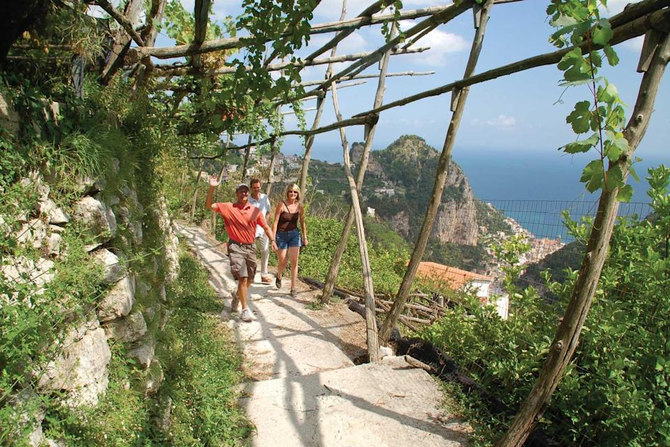Guests with a local tour guide on the Amalfi Coast with Classic Journeys, voted one of the world's best Tour Operators