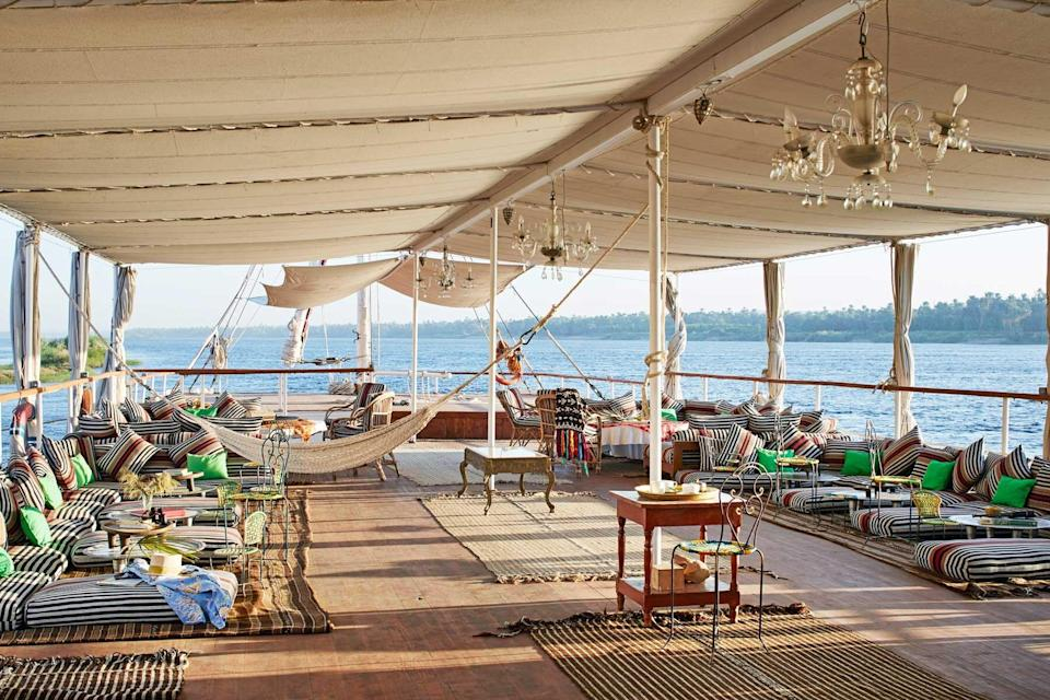 Deck on a private cruise of the Nile with Black Tomato, voted one of the world's best Tour Operators