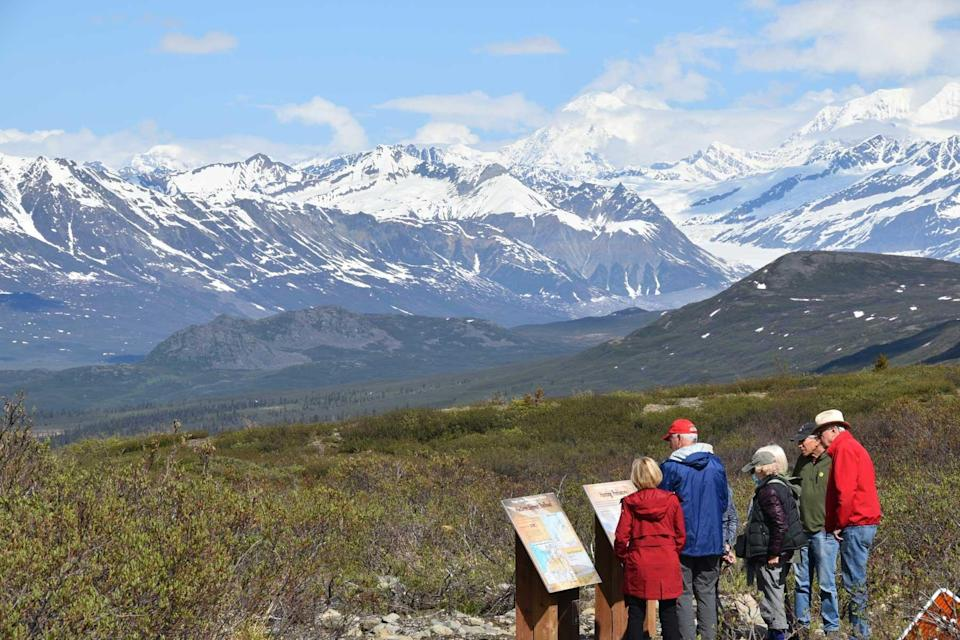 A tour group in Alaska on a trip with Odysseys Unlimited, voted one of the world's best Tour Operators